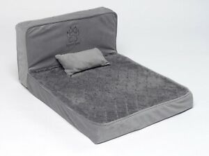 Dog Bed Foam Small Dog Pet Seating Lounger Design Grey Non Slip comfy Headboard