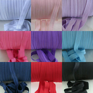 "Fold Over Elastic 15mm 5/8"" Quality Soft Shiny Headband Tutu FOE 3 5 10 metres"
