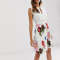 Ted Baker Rommanna Tie Neck Berry Sundae Cinched Waist Pleated Frill Dress $283