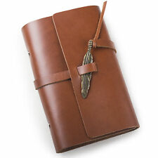 Ancicraft Refillable Leather Journal with Retro Feather A6 Blank Paper Red Brown