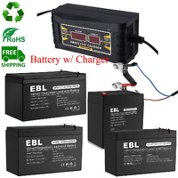 Lot 12V 100Ah 12Ah 9Ah 7Ah AGM Sealed Lead Acid Rechargeable Battery w/ Charger