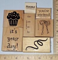 Party Invitation Set Cake Birthday 7pc lot Stampin Up! Rubber Stamp