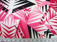 Discount Fabric Printed Spandex Stretch Pink Black Bamboo Leaves A302