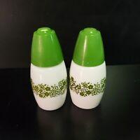 Vintage Pyrex Green Crazy Daisy Milk Glass SALT & PEPPER Shakers Spring White