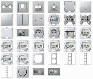 Merten Schalterprogramm System M Aluminium Steckdose / Rahmen / Wippen