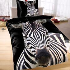 Thermofleece Mikrofaser Wende Bettwäsche 135x200 2 tlg Afrika schwarz Zebra