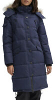 Noize Womens Kaylee Quilted Fur Parka Medium Winter Jacket Midnight Blue NEW