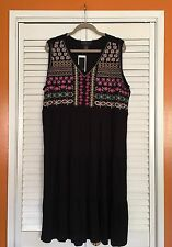 1X/XL New Floral Embroidered Black Dress Tee Sundress Tiered Blue Pink 14/16/18
