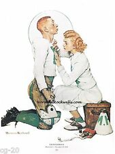 "Norman Rockwell print ""THE LETTERMAN""  college football sports high school"