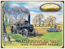Fowler, Ploughing, Steam Traction Engine Vintage, Medium Metal Tin Sign, Picture
