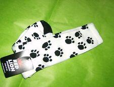 Soccer Sock with Paw Print White/Black Sz 6 - 8.5