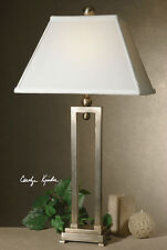 "CONRAD 29"" DESIGNER INSPIRED SILVER ANTIQUED STAIN TABLE LAMP UTTERMOST"