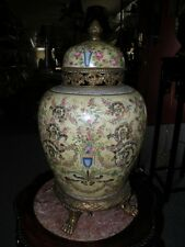 REPRODUCTION PORCELAIN AND BRASS ORMOLU PALACE VASE FLORAL DESIGN
