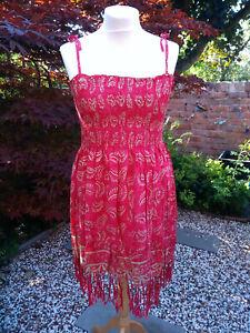 Strappy boho sun top dress 16 18 20 22 batik print fringe hem spaghetti straps