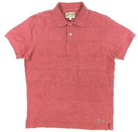 Gant by Michael Bastian Mens Medium S/S Solid Pink Texture Checked Polo Shirt GC