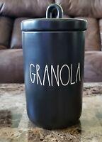 Rae Dunn Black GRANOLA Ceramic Canister NEW