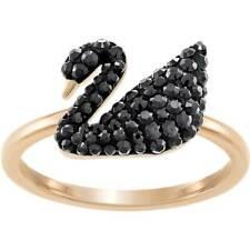 Cisne Swarovski para mujer Anillo icónicos de oro rosa cristal negro, tamaño 55 (5358024)