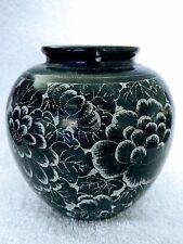 Black Marble Vase Hand Carved Etched Pot Art