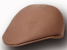 Rounded Crushable Wool Ivy Pub Style Drivers Cap-Cabbie Hat-Khaki Tan-Small