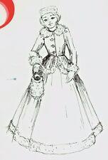 "24-25""ANTIQUE FRENCH FASHION LADY DOLL FUR TRIM DRESS&JACKET HAT&MUFF PATTERN"