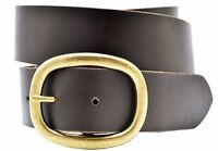 Full Grain Solid Cowhide Leather Belt w/Brass Center Bar Buckle - Brown