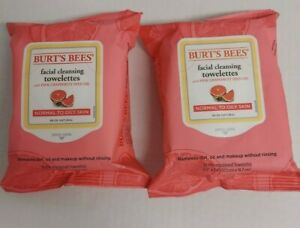 2 Burt's Bees Facial Cleansing Towelettes NORMAL TO OILY Pink Grapefruit 30 ct