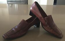 Luscious Ladies Rich Tan Leather Loafer Shoes Size 36