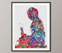 Buddha Watercolor Print Meditation Yoga Zen Buddhism Religion Poster Yoga Art