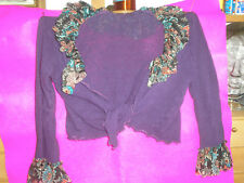 LADIES SHRUG PURPLE WITH PRINTED FRILLED LACE COLLAR/CUFF TIE FRONT SIZE M/L