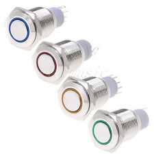 4*16mm 12V Led Angel Eye Push Button Metal Momentary Switch-GREEN+RED+Blue+Yello