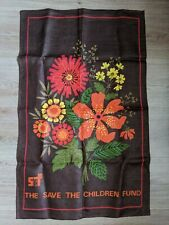 DUNMOY RETRO vtg 1970s BROWN RED YELLOW FLORAL SAVE THE CHILDREN FUND TEA TOWEL