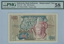 INDONESIA 1000 RUPIAH 1952 P 48 REPLACEMENT !!  PMG 58 RARE AS REPLACEMENT