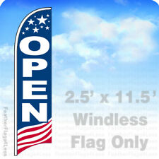 OPEN - Windless Swooper Feather Flag 2.5x11.5' Banner Sign - USA bb