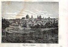 Stampa antica ASTRAKHAN panorama Russia 1889 Antique print античный печать