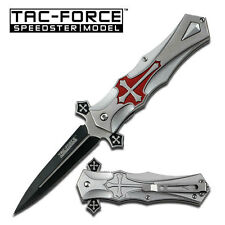 TAC FORCE Midieval Spring Assisted Pocket Knife Folding Blade Red Cross NEW