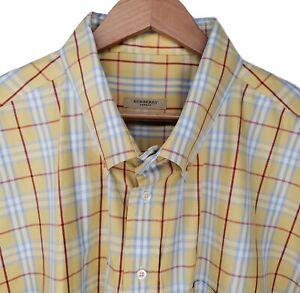 Burberry London Yellow Red Blue White Plaid Long Sleeve Button Down Shirt 4XT