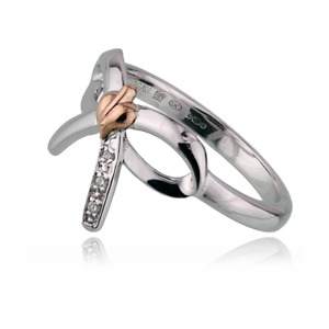 Clogau Ring Size LMNOP Diamond Bow Sterling Silver Welsh Rose Gold 3STOLBR BOXED