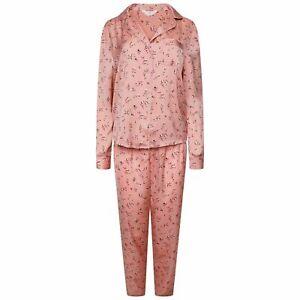 Brand New Ex M&S Floral Satin Long Sleeve Pyjama Set Sizes 8-22 Pink