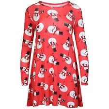 Xmas Swing Dress Ladies Girls Long Sleeve Top Womens Christmas Party Dress New