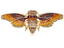 Egyptian Cicada Moth Crystal Rhinestone Enamel Paint Golden Tone Bug Pin Brooch