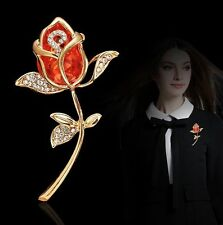 Fashion Jewelry Gold-plated Crystal Rhinestone Red Roses Brooch Pin Wedding gift