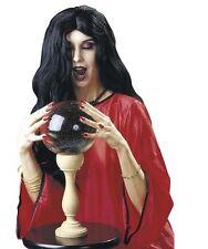 Ladies Long Black Amelia Wig Horror Halloween Witch Vampire Morticia Fancy Dress