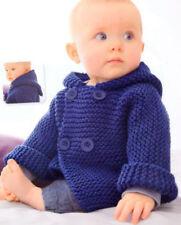 Knitting Pattern- Easy Garter stitch baby hooded Jacket in Aran wool- Fits 3-12m