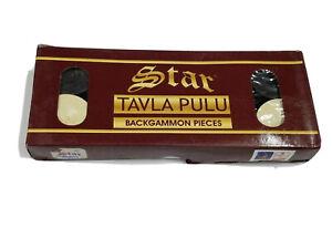 Turkish Amazing Quality STAR Tavla Pulu Black White Backgammon Pieces Checkers