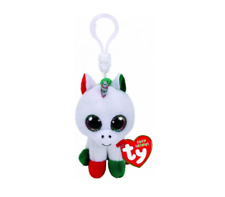 "2018 Christmas TY Beanie Baby Boos 3"" CANDY CANE Unicorn Key Clip Plush MWMT's"