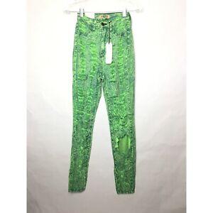 Fashion Nova Aphrodite Green Acid Wash High Waisted Skinny Jeans - New With Tag
