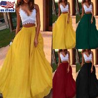 Women's Plus Size Boho High Waist Beach Full Lenght Maxi Skirt Summer Long Dress