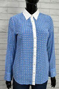 FRED PERRY S Donna Camicia Cotone e Seta Maglia Blu Chemise Shirt Woman Hemdfrau