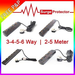 SURGE PROTECTED & NON EXTENSION LEAD SWITCHED CABLE CORD 2M 5M METER 3 4 5 6 WAY