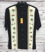 NWT-Pierre Cardin Mens Hawaiian Short Sleeve Rayon Button Down Shirt Black Sz:M